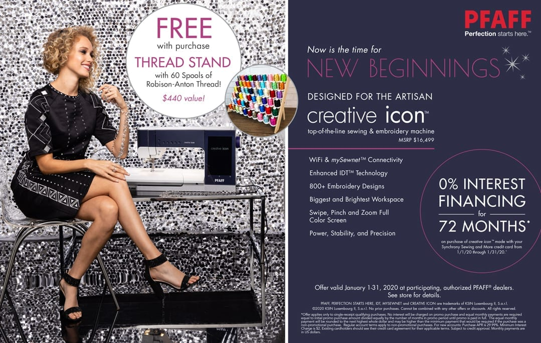 PFAFF Creative Icon Offer - Free Thread Stand with 60 Spools of Robison Anton Threads!